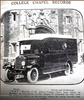 HMV recording van at St John's in 1927