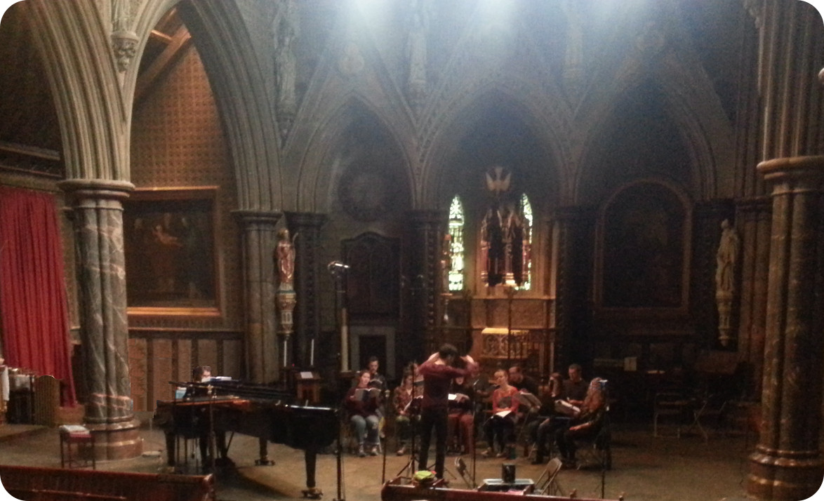Quintin Beer conducts recording of Op.18 Andromeda in St Cuthbert's Church, Earls Court