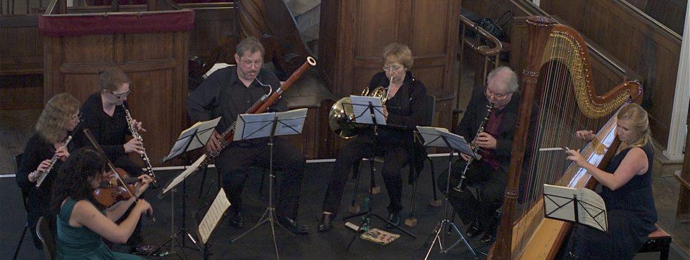 The Anemos Wind Quintet with Ruth McGibben (viola) and Kate Ham (harp) in St John's Chapel, Chichester