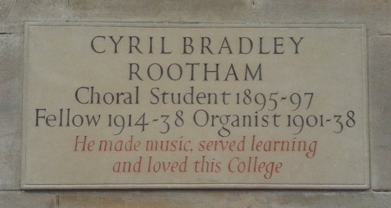 Plaque in memory of Cyril Rootham. in the Chapel of St John's College, Cambridge