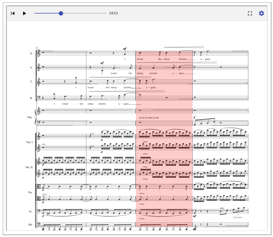 MuseScore with moving cursor