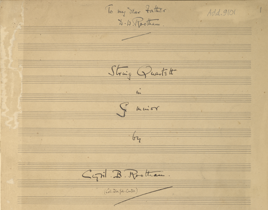 Title page of Op.10 String Quartet in G minor