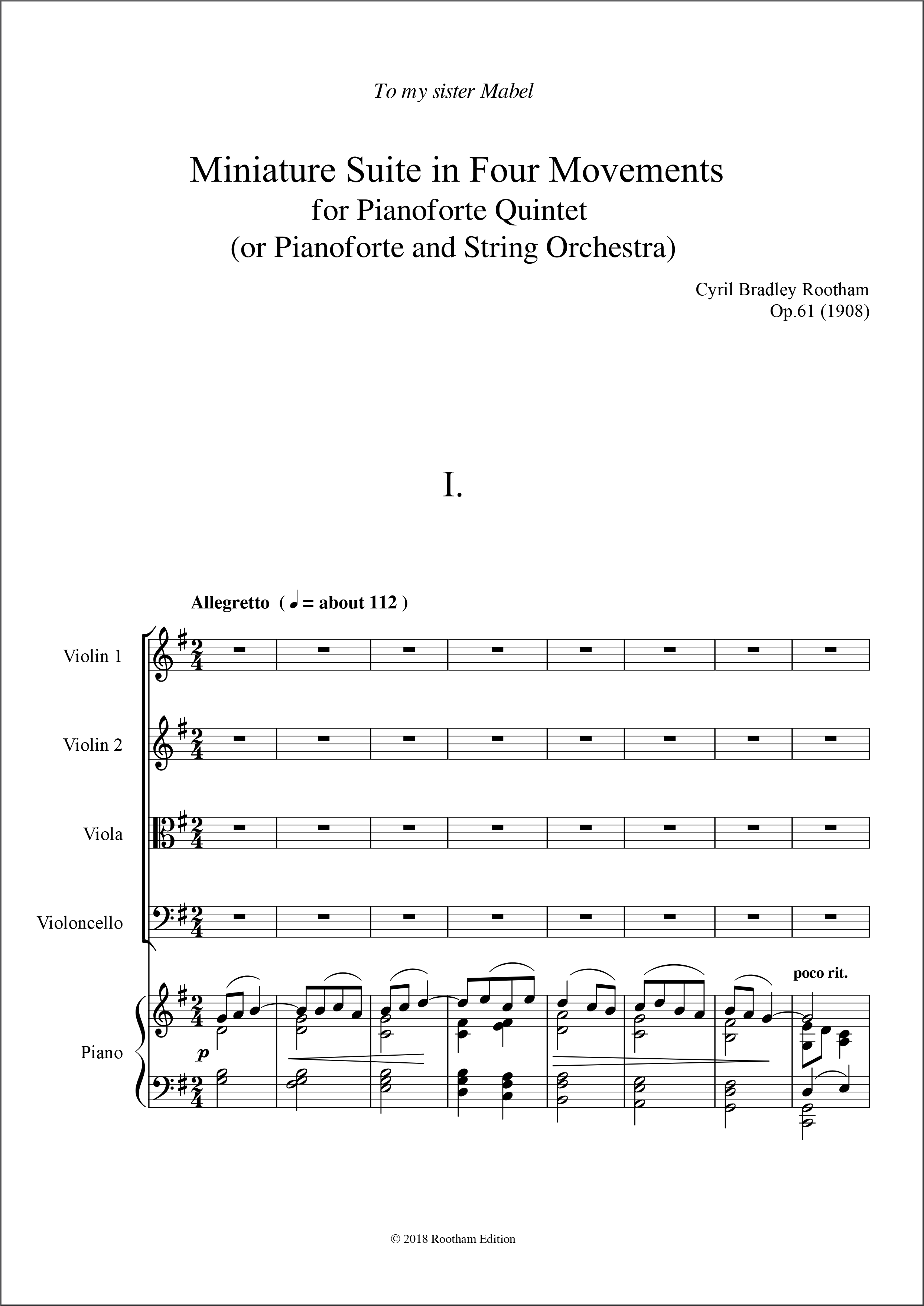 Op.61 Miniature Suite - Rootham Edition