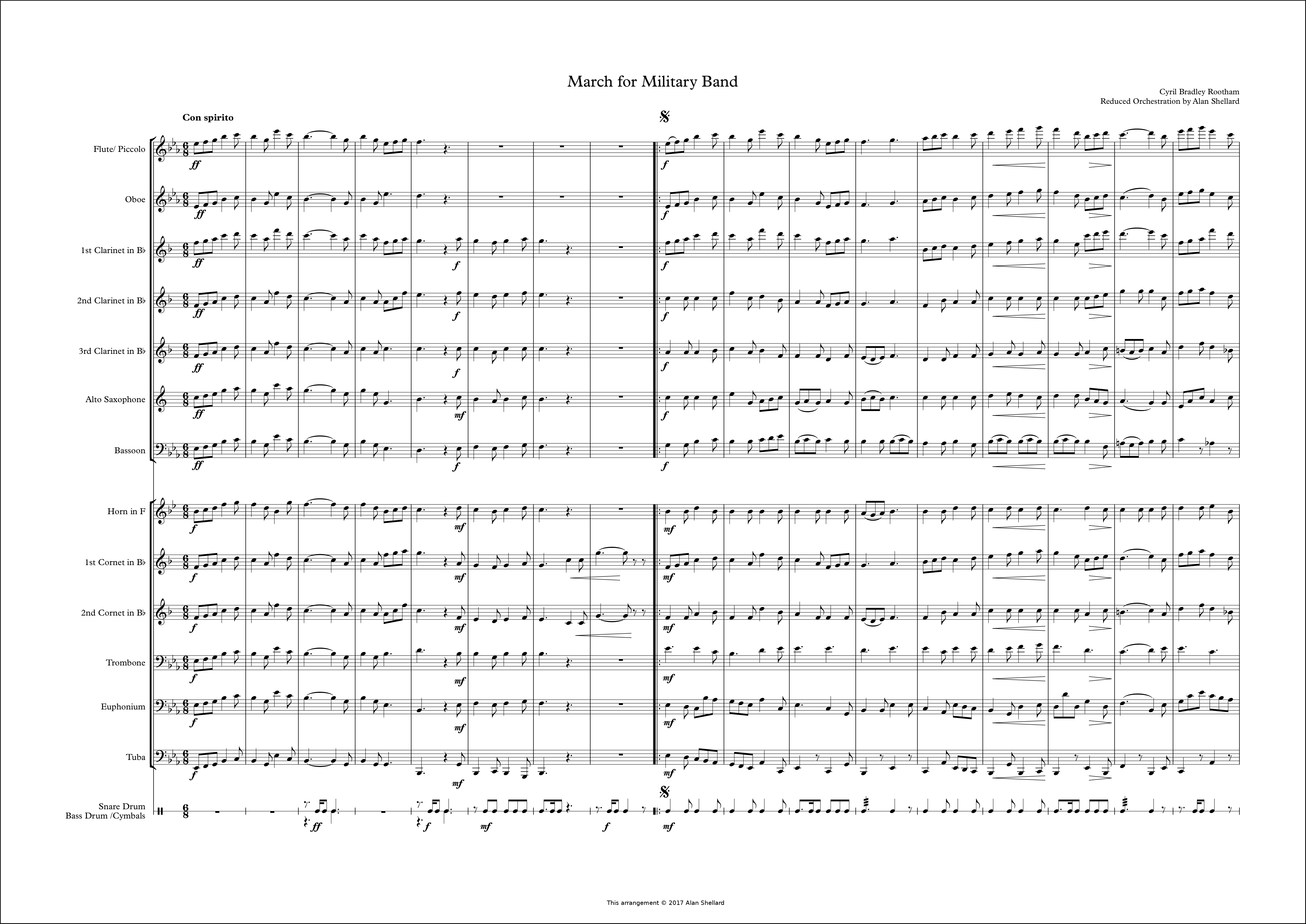 Alan Shellard's arrangement of Op.89 March for Military Band