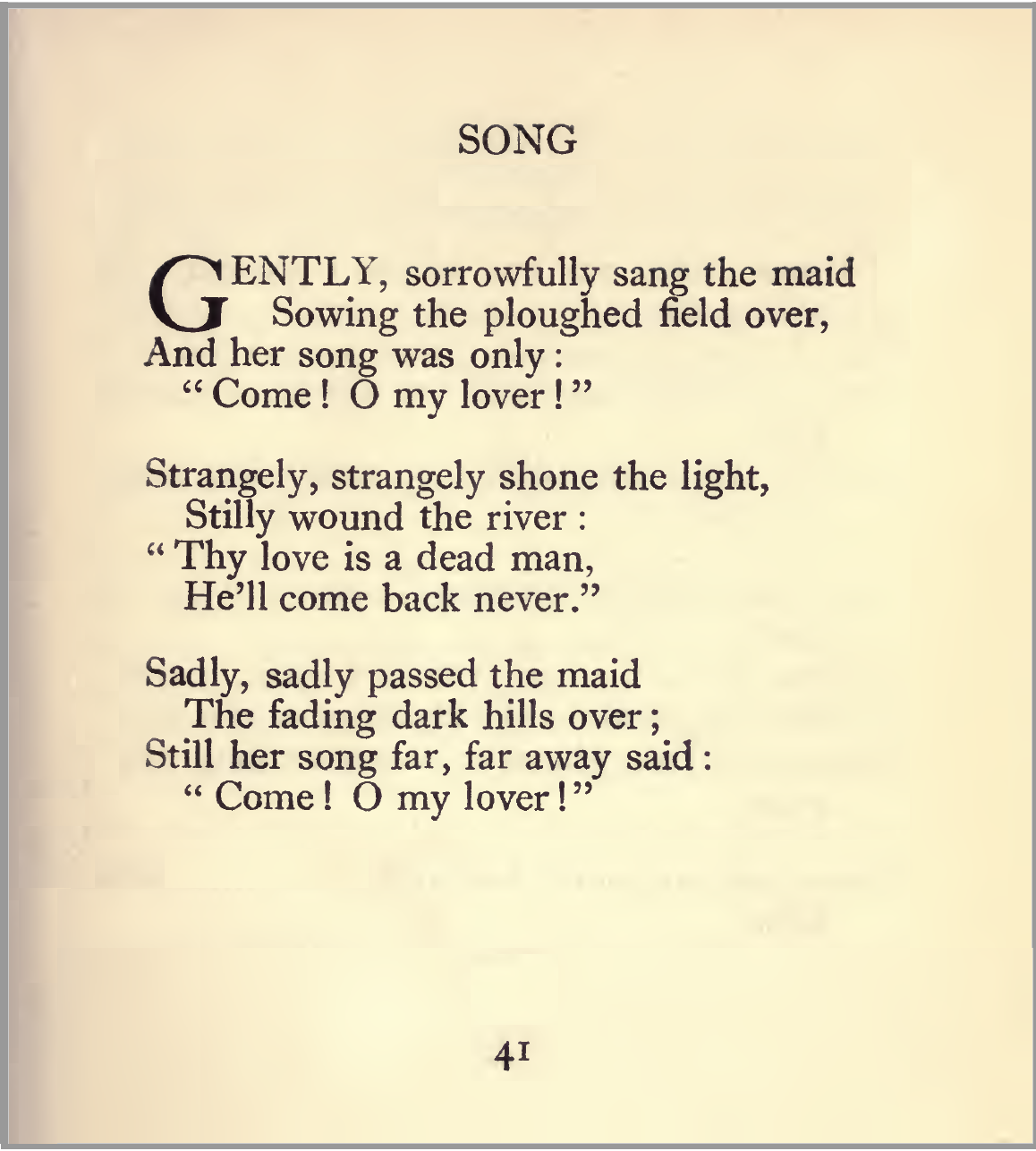 Sorrow Song by W. J. Turner: from 'The Dark Fire'