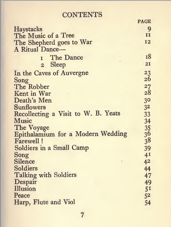 Contents page from The Dark Fire: original 1918 edition